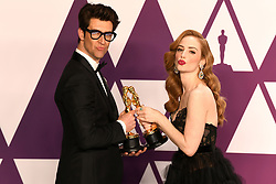 """Guy Nattiv and Jaime Ray Newman, winners of the Best Live Action Short Film Awards for """"Skin"""" at the 91st Annual Academy Awards (Oscars) presented by the Academy of Motion Picture Arts and Sciences.<br /> (Hollywood, CA, USA)"""