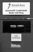 Zurich, SWITZERLAND, Wednesday, 01/06/2016, Stämpfli Racing Boats, Factory, Workshops beside Lake Zurich,<br /> Main Workshop doors.<br /> <br /> [Mandatory Credit; Peter SPURRIER/Intersport-images] , Boat and Oar / Blade, Making, Building, Construction,