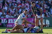 Tohu Harris is injured. St George Dragons v Vodafone Warriors. NRL Rugby League, Netstrata Jubilee Stadium, Sydney, NSW, Australia, Sunday 18th April 2021 Copyright Photo: David Neilson / www.photosport.nz