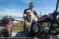 """""""Moonshiner Josh"""" Owens with his dog """"Cutie Pie"""" on A1A south of Flagler Beach during Daytona Beach Bike Week 2015. FL, USA. March 13, 2015.  Photography ©2015 Michael Lichter."""