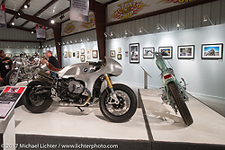 Cristian Sosa's custom RnineT BMW in the Old Iron - Young Blood exhibition in the Motorcycles as Art gallery at the Buffalo Chip during the annual Sturgis Black Hills Motorcycle Rally.  SD, USA. Friday August 11, 2017.  Photography ©2017 Michael Lichter.