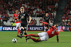 18 October 2017 -  UEFA Champions League - (Group A) - SL Benfica v Manchester United  - Luisao of Benfica is shown a 2nd yellow card and sent off for this tackle on Scott McTominay of United - Photo: Marc Atkins/Offside