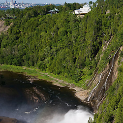 Manoir Montmorency at Montmorency Falls Park near Quebec City.  Quebec City can be seen in the distance.