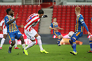 #7 Tom Ince shoots on goal for Stoke City during the The FA Cup 3rd round replay match between Stoke City and Shrewsbury Town at the Bet365 Stadium, Stoke-on-Trent, England on 15 January 2019.