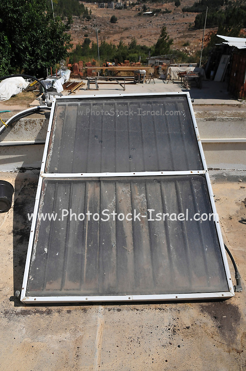 Close up Solar water heater on a roof. Photographed in Israel