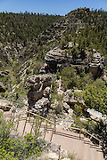 The stairs leading to the Island Trail in Walnut Canyon National Monument