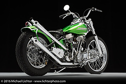 """An updated """"planet"""" green '53 panhead built by Michael Diamond in in Livermore, CA. Photographed by Michael Lichter during the Easyriders Bike Show in Sacramento, CA on January 7, 2016. ©2016 Michael Lichter."""