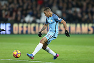 Gabriel Jesus of Manchester City shoots and scores his sides 3rd goal. Premier league match, West Ham Utd v Manchester city at the London Stadium, Queen Elizabeth Olympic Park in London on Wednesday 1st February 2017.<br /> pic by John Patrick Fletcher, Andrew Orchard sports photography.