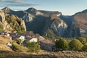 Gorges du Verdon with village houses, France