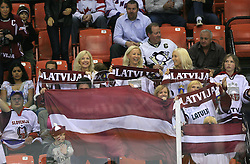 Fans of Latvia at ice-hockey match Slovenia vs Latvia at Preliminary Round (group B) of IIHF WC 2008 in Halifax, on May 06, 2008 in Metro Center, Halifax, Nova Scotia, Canada. Latvia won 3:0. (Photo by Vid Ponikvar / Sportal Images)Slovenia played in old replika jerseys from the year 1966, when Yugoslavia hosted the World Championship in Ljubljana.