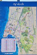 \tourist information map in the old town of akko or Acre, a city in northern Israel with a history spanning centuries. It also played a major role in the holy land crusades
