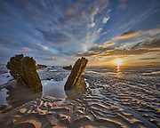 For a few nights I travelled down to Berrow Beach near Burnham on Sea to photograph the wreck of the SS Nornen. I previously had not realised how mobile the mud in the Bristol Channel is. On previous occasions I was unable to get this close to the timbers as the mud was too deep and sucky. On this night I had the perfect combination of clean sand, falling tide and sunset.