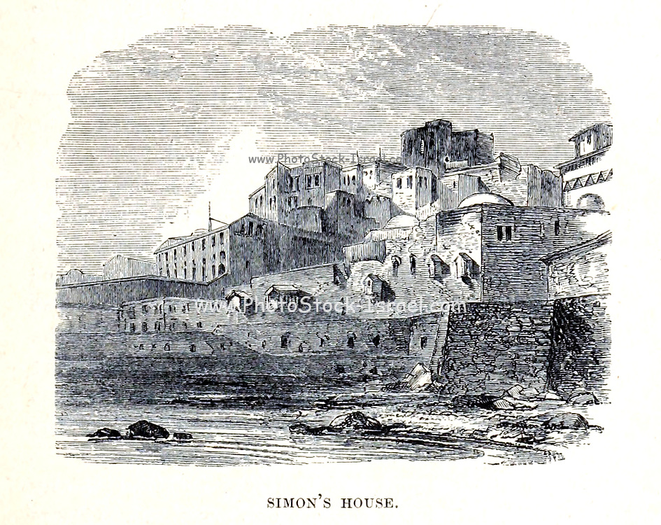 Simon's [the tanner] House, Jaffa From the Book 'Bible places' Bible places, or the topography of the Holy Land; a succinct account of all the places, rivers and mountains of the land of Israel, mentioned in the Bible, so far as they have been identified, together with their modern names and historical references. By Tristram, H. B. (Henry Baker), 1822-1906 Published in London in 1897