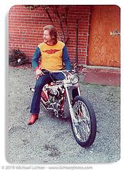 Arlen Ness on his custom Magnacycle.  ©1973 Ness Family Archive Photo