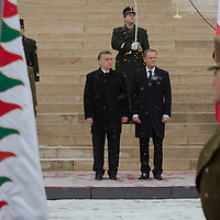 Donald Tusk (R) prime minister of Poland and his counterpart Viktor Orban (L) Prime Minister of Hungary inspect the honour guards during a welcoming ceremony in Budapest, Hungary on January 29, 2014. ATTILA VOLGYI