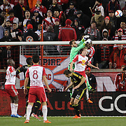 Goalkeeper Steve Clark, Columbus Crew SC, punches clear during the New York Red Bulls Vs Columbus Crew SC, Major League Soccer Eastern Conference Championship, second leg, at Red Bull Arena, Harrison, New Jersey. USA. 29th November 2015. Photo Tim Clayton