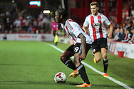 Brentford midfielder Romaine Sawyers (19) crossing the ball during the EFL Sky Bet Championship match between Brentford and Nottingham Forest at Griffin Park, London, England on 16 August 2016. Photo by Matthew Redman.
