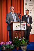 Ian Burton, of SBCC, announcing he winners of the 2015 Scottish Border Business Award  for the Application of Creativity: First Borders. <br /> <br /> The 2015 Scottish Border Business Awards, held at Springwood Hall, Kelso. The awards were run by the Scottish Borders Chambers of Commerce, with guest speaker Keith Brown, MSP. The SBCC chairman Jack Clark and the presenter Fiona Armstrong co hosted the event.