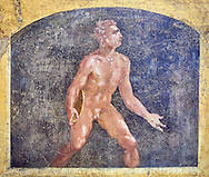 Detail of the Roman fresco wall painting of a Discus thrower from the  triclinium,  a formal dining room, of the Villa Arriana (Adriana), Stabiae (Stabia) near Pompeii , inv 9053, Naples National Archaeological Museum .<br /> <br /> If you prefer to buy from our ALAMY PHOTO LIBRARY  Collection visit : https://www.alamy.com/portfolio/paul-williams-funkystock - Scroll down and type - Roman Fresco Naples  - into LOWER search box. {TIP - Refine search by adding a background colour as well}.<br /> <br /> Visit our ROMAN ART & HISTORIC SITES PHOTO COLLECTIONS for more photos to download or buy as wall art prints https://funkystock.photoshelter.com/gallery-collection/The-Romans-Art-Artefacts-Antiquities-Historic-Sites-Pictures-Images/C0000r2uLJJo9_s0