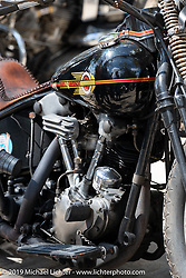 Granville Tracy's 1938 custom EL Harley-Davidson Knucklehead at Warren Lane's True Grit Antique Gathering bike show at the Broken Spoke Saloon in Ormond Beach during Daytona Beach Bike Week, FL. USA. Sunday, March 10, 2019. Photography ©2019 Michael Lichter.