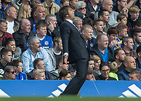 Football - 2016/2017 Premier League - Chelsea V Leicester.<br /> <br /> Chelsea Manager Antonio Conte arches his back as his Chelsea team go close to scoring at Stamford Bridge.<br /> <br /> COLORSPORT/DANIEL BEARHAM