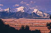 Sunrise over 14,197 ft. Mount Princeton of the Sawatch Mountains.  Viewed from the east side of the Arkansas Valley, Colorado.  USA