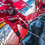 Leg 02, Lisbon to Cape Town, day 10, on board MAPFRE.  Blair Tuke moviendo una vela. Photo by Ugo Fonolla/Volvo Ocean Race. 14 November, 2017
