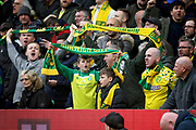 Norwich City fans celebrating during the EFL Sky Bet Championship match between Norwich City and Queens Park Rangers at Carrow Road, Norwich, England on 6 April 2019.