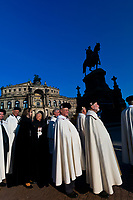 Procession of the Knights of Jerusalem walking through Theaterplatz, Semper Opera House, Theaterplatz, Dresden, Saxony, Germany