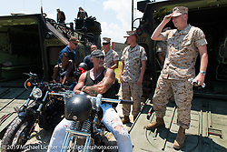 "The Horse Magazine publisher Ralph ""Hammer"" Janus visiting Camp Lejeune Marine base in NC with friends on the way to the Smokeout 2015. USA. June 17, 2015.  Photography ©2015 Michael Lichter."