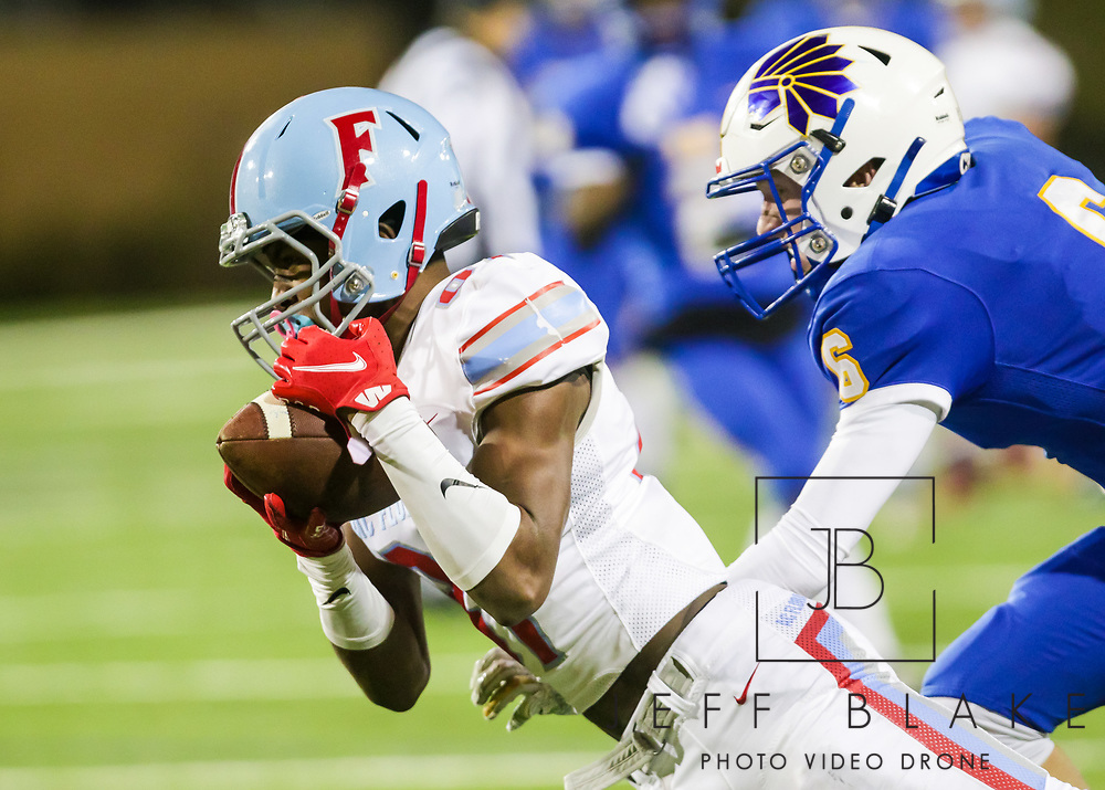 AC Flora Falcons wide receiver Mekhi Campfield (81) makes a long reception against the North Myrtle Beach Chiefs during the first half the state championship game at Benedict College.