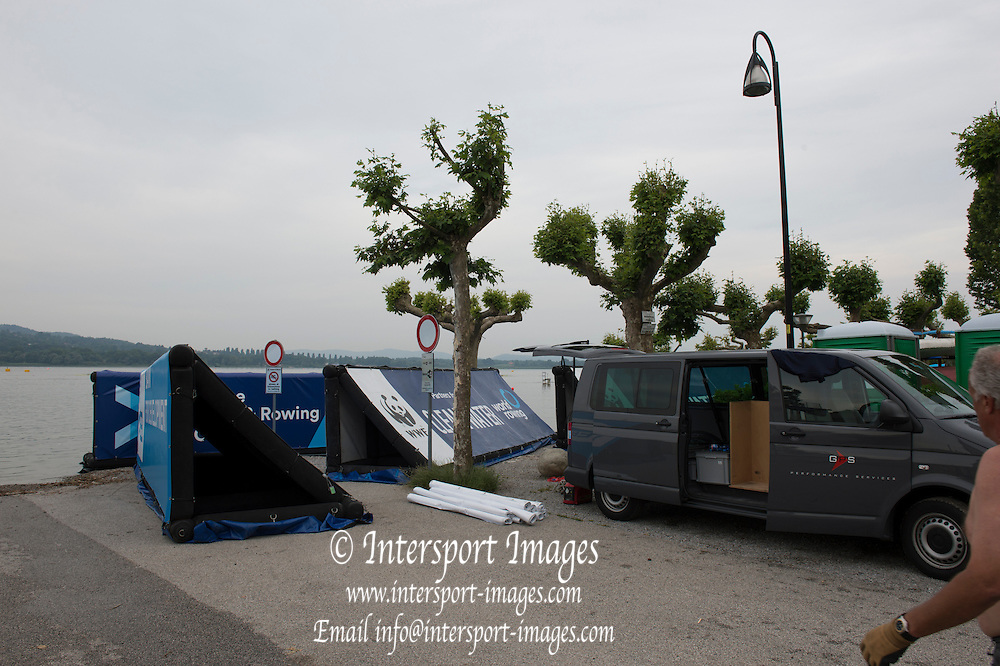 Varese. ITALY.  Advertising and promotional installations waiting for placement at the   2015 FISA World Cup II Venue Lake Varese. Thursday  18/06/2015 [Mandatory Credit: Peter Spurrier/Intersport images]