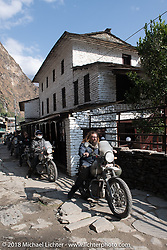 Bear Haughton on the main street of Tatopani before starting out on Day-7 of our Himalayan Heroes adventure riding from Tatopani to Pokhara, Nepal. Monday, November 12, 2018. Photography ©2018 Michael Lichter.