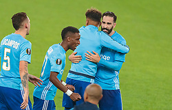 03.05.2018, Red Bull Arena, Salzburg, AUT, UEFA EL, FC Salzburg vs Olympique Marseille, Halbfinale, Rueckspiel, im Bild Jubel bei Lucas Ocampos (Olympique Marseille), Bouna Sarr (Olympique Marseille), Adil Rami (Olympique Marseille) // during the UEFA Europa League Semifinal, 2nd Leg Match between FC Salzburg and Olympique Marseille at the Red Bull Arena in Salzburg, Austria on 2018/05/03. EXPA Pictures © 2018, PhotoCredit: EXPA/ JFK