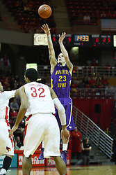 29 December 2011:  Marc Sonnen gets off a shot from the three point mark during an NCAA mens basketball game between the Northern Illinois Panthers and the Illinois State Redbirds in Redbird Arena, Normal IL