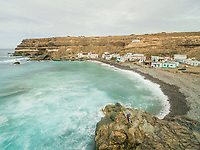 FUERTEVENTURA - SPAIN - FEBRUARY 2018: Aerial view of the small village Puertito de Molinos and its hidden beach, Canary Islands.