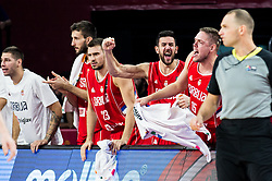 Players of Serbia react during basketball match between National Teams of Russia and Serbia at Day 16 in Semifinal of the FIBA EuroBasket 2017 at Sinan Erdem Dome in Istanbul, Turkey on September 15, 2017. Photo by Vid Ponikvar / Sportida