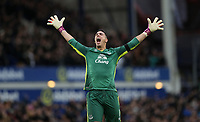 Football - 2016 / 2017 Premier League - Everton vs. Manchester City<br /> <br /> Joel Robles of Everton celebrates after Kevin Mirallas of Everton scores during the match at Goodison Park.<br /> <br /> COLORSPORT/LYNNE CAMERON