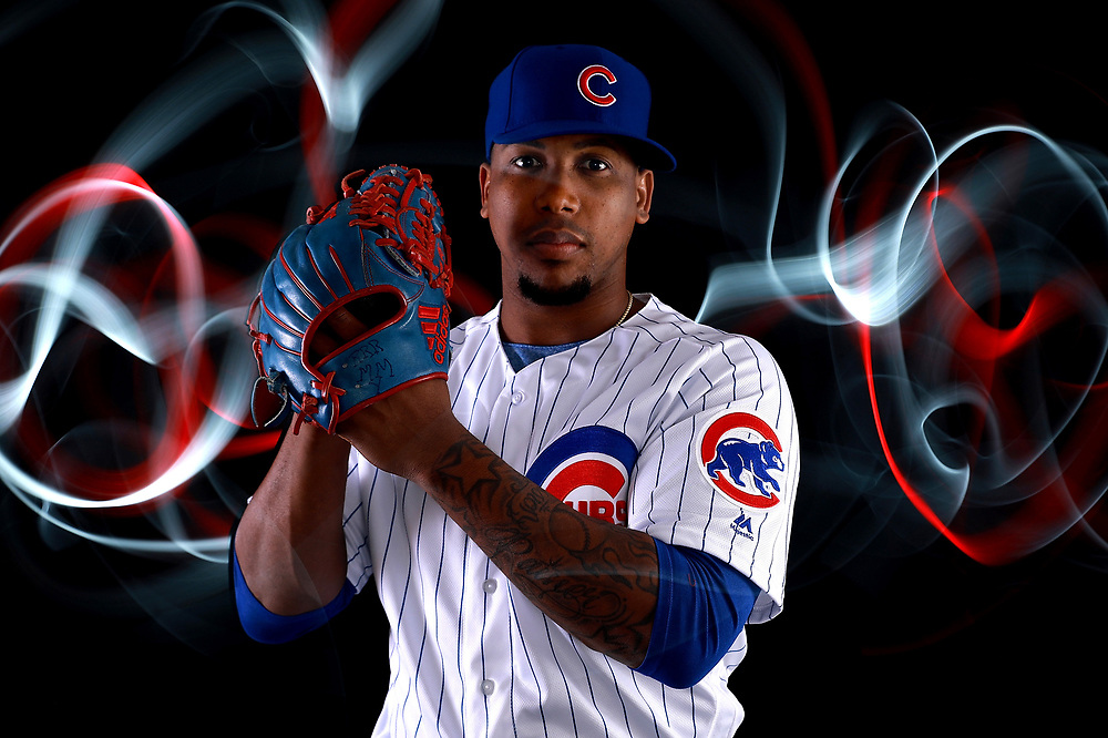 MESA, AZ - FEBRUARY 20:  Pedro Strop #46 of the Chicago Cubs poses during Chicago Cubs Photo Day on February 20, 2018 in Mesa, Arizona.  (Photo by Gregory Shamus/Getty Images)