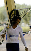 Barcelona,  SPAIN, FIN M1X Pertti KARPPINEN 1992 Olympic Regatta. Lake Banyoles, Nr Barcelona SPAIN,  [Photo, Peter Spurrier/Intersport-images]
