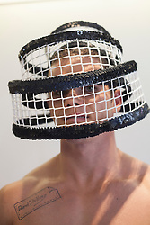 © licensed to London News Pictures. London, UK 14/06/2012. David Shilling's hat worn by a model as he unveils his new collection of hats today (14/06/12). Photo credit: Tolga Akmen/LNP