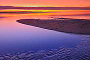Sand bars in Lesser Slave Lake  at sunset<br /> Lesser Slave Lake Provincial Park<br /> Alberta<br /> Canada
