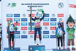 14.02.2021, Center Pokljuka, Pokljuka, SLO, IBU Weltmeisterschaften Biathlon, Sprint, Damen, Siegerehrung, im Bild hauser (lisa theresa) (aut), eckhoff (tiril) (nor), chevalier boichet (anais) (fra) // during the winner ceremony for the womens Sprint competition of IBU Biathlon World Championships at the Center Pokljuka in Pokljuka, Slovenia on 2021/02/14. EXPA Pictures © 2021, PhotoCredit: EXPA/ Pressesports/ Frederic Mons<br /> <br /> *****ATTENTION - for AUT, SLO, CRO, SRB, BIH, MAZ, POL only*****