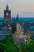 Downtown Edinburgh, Scotland as seen from Calton Hill