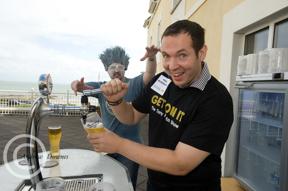 Paul McDonagh From Castlebar Co. Mayo pulls his own pint  at the Budweiser Ice Cold Summer BBQ, broadcast live on the Tony Fenton Show at The Galway Bay Hotel in Salthill. Photo:Andrew Downes.. .Both Duke Special and The Divine Comedy performed at the summer kick-off party and Today FM's Tony Fenton Show broadcast live from the hotel all afternoon...The 150 invited guests included Today FM listeners ad Budweiser Ice Cold Facebook fans from all over the country. Guests also won the chance to win a cool Grand in cash, meet Mr. Iceman and of course enjoy a pint of Budweiser Ice Cold, the coldest pint ever!..Enjoy Budweiser Ice Cold sensibly visit www.drinkaware.ie ..This event was strictly over 18's,..-ENDS-..FOR FURTHER INFORMATION PLEASE CONTACT:.Killian Burns / Aoiffe Madden..Killian.burns@ogilvy.com / aoiffe.madden@ogilvy.com.WHPR..Tel: 01 6690030.