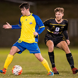 BRISBANE, AUSTRALIA - AUGUST 26: Jake McLean of the Strikers in action during the NPL Queensland Senior Men's Semi Final match between Brisbane Strikers and Moreton Bay Jets at Perry Park on August 26, 2017 in Brisbane, Australia. (Photo by Patrick Kearney)