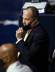 Feb 25, 2021; Berkeley, California, USA; California Golden Bears head coach Mark Fox watches his team take on the Oregon State Beavers during the first half of an NCAA college basketball game at Haas Pavilion. Mandatory Credit: D. Ross Cameron-USA TODAY Sports