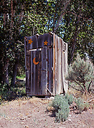 Two star outhouse with crescent moon, Phil and Tiny Keller's Ranch, Antelope Valley, Idaho.