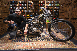 Andrea Radaelli and his Radikal Choppers' custom Ironhead in the 70's Company display at Motor Bike Expo. Verona, Italy. Friday January 19, 2018. Photography ©2018 Michael Lichter.