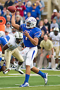Dec 1, 2012; Tulsa, Ok, USA; Tulsa Hurricanes quarterback Cody Green (7) makes a pass during a game against the University of Central Florida Knights at Skelly Field at H.A. Chapman Stadium. Tulsa defeated UCF 33-27 in overtime to win the CUSA Championship. Mandatory Credit: Beth Hall-USA TODAY Sports